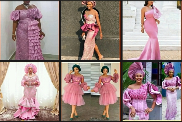 Onion Colour Material Aso-Ebi Styles for Wedding and Naming Ceremony