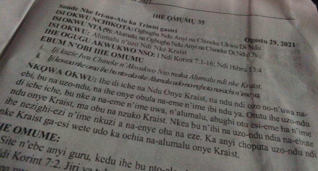 ANGLICAN BIBLE STUDY IGBO - STUDY 35