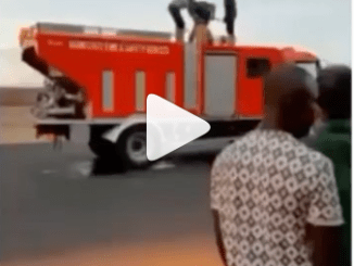 Firefighters seen filling jerrycans with water to put out a fire in Ogun state (video)