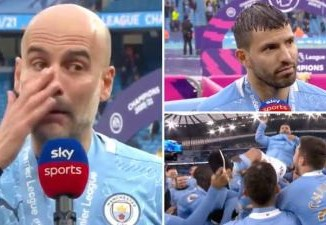 Footballer, Sergio Aguero's dad accuses Pep Guardiola faking tears over his son's exit from Man City
