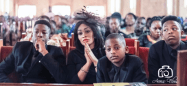 Diamond Platinumz's baby mama and her sons with late ex-husband at his memorial service (Photos)