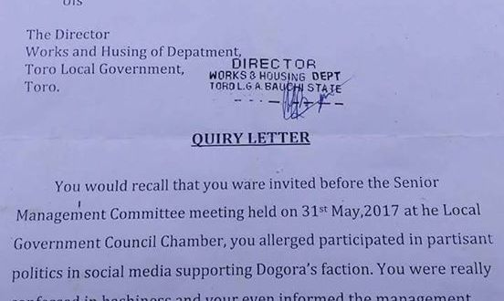 Check out the query letter issued to a Local Government Council employee