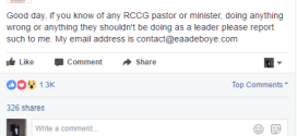 If you know any RCCG pastor doing anything wrong, report such to me – Adeboye