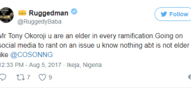 'Going on social media to rant on issues you know nothing about is not elder like' -Ruggedman slams Tony Okoroji ove Lai Mohammed
