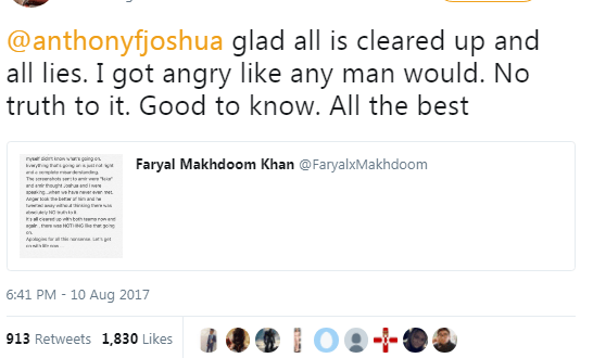 Amir Khan apologizes to Anthony Joshua after he accused him of having an affair with his wife