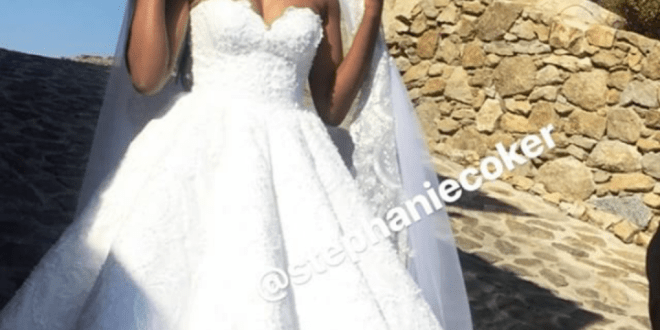 First photos from Stephaine Coker's white wedding in Greece