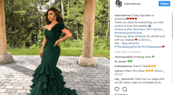 Photos from Toke Makinwa's sister's marriage to white Husband