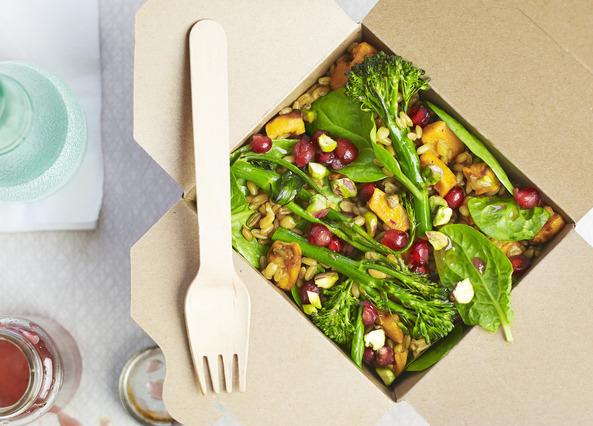 Roasted sweet potato, pistachio and pomegranate salad