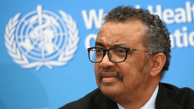 WHO Director-General Tedros Adhanom Ghebreyesus attends a news conference on the coronavirus in Geneva, Switzerland, Feb. 24, 2020