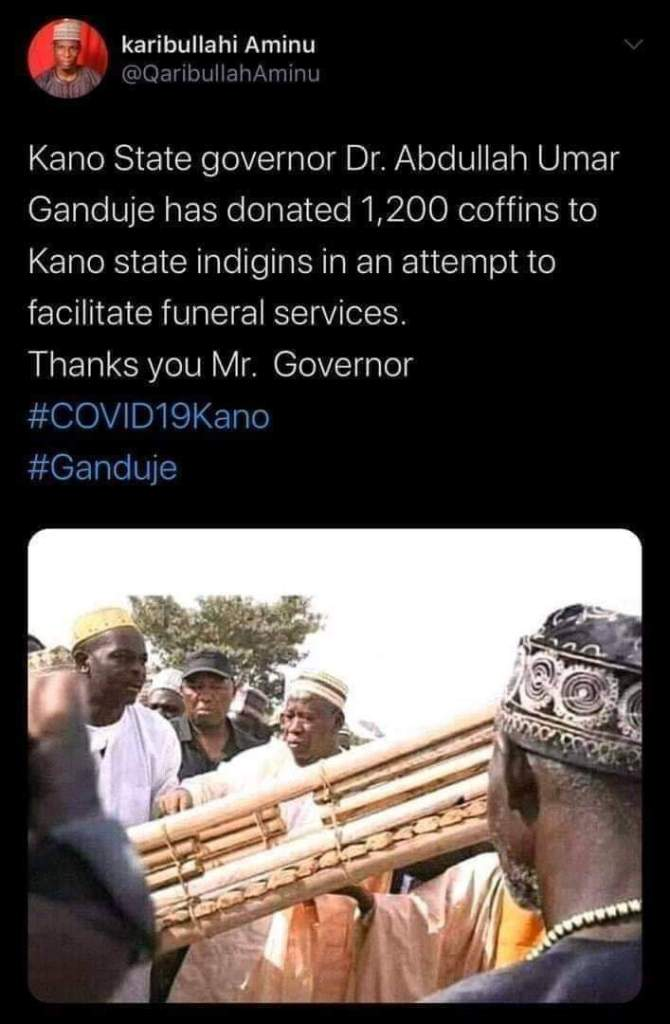 Kano state governor donates 1200 coffines