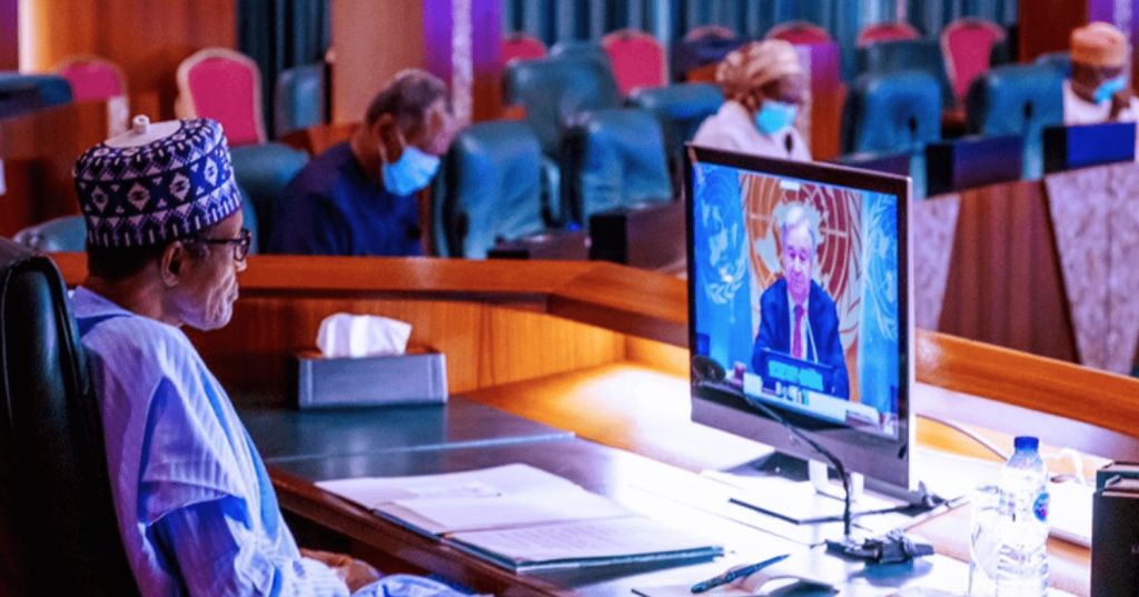 President @MBuhari participating in the United Nations High-Level Virtual Event on Financing for Development in the era of COVID-19 and Beyond on Thursday, May 28, 2020. Photo: Presidency