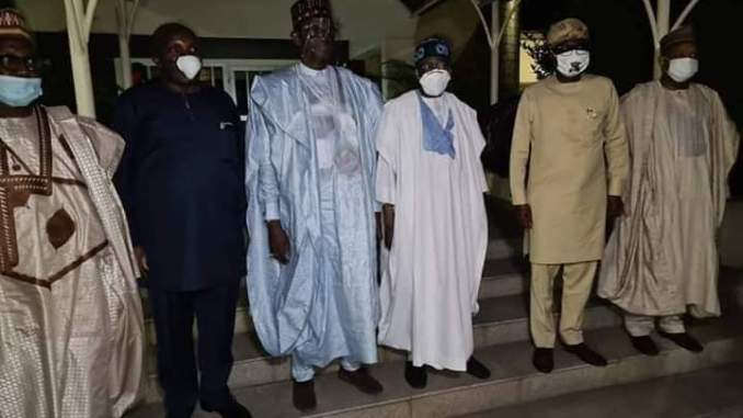"""BREAKING- APC Caretaker Committee In Closed-Door Meeting With At The """"JAGABAN,"""" Bola Ahmed Tinubu's residence"""