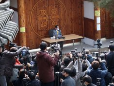 Lee Man-hee, the leader of the Shincheonji church, held a news conference in Gapyeong, South Korea, on Monday.Credit- Pool photo, via Getty Images