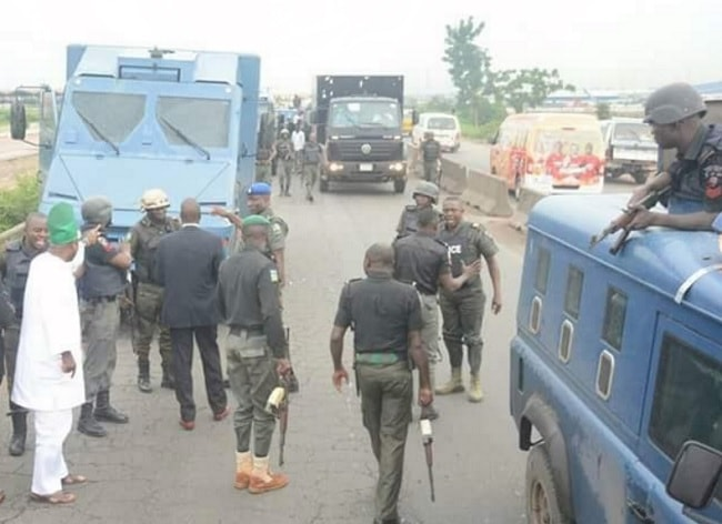 Police and Bullion Van related to Governor Amosun's incident