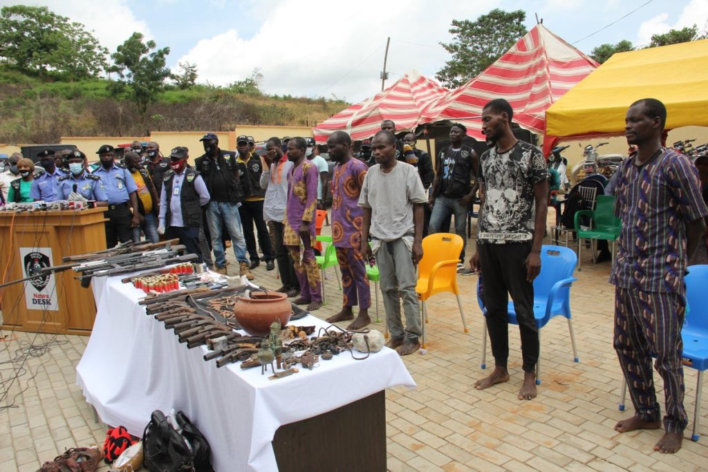 Seven Criminals Arrested for Multiple Bank Robberies in Ile-Oluji, Oye-Ekiti - Photos