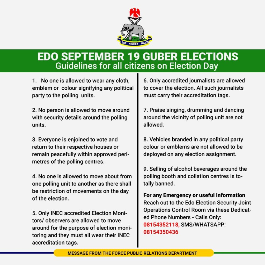 EDO GUBER ELECTION 19th SEPT 2020: Police Release 9 Strict Guidelines For All Citizens On Election Day