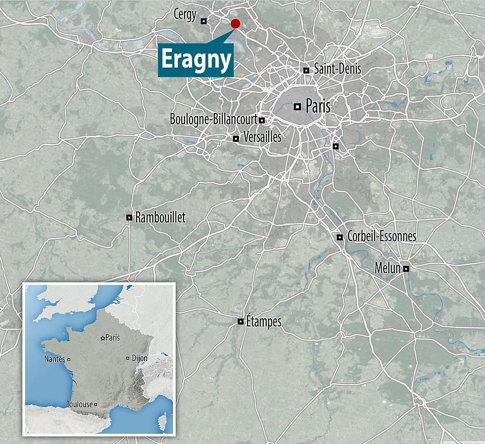 The killer fled to the nearby town of Eragny-sur-Oise (pictured) around two miles away from where the alleged beheading occurred, where he refused to surrender and was shot dead by the police