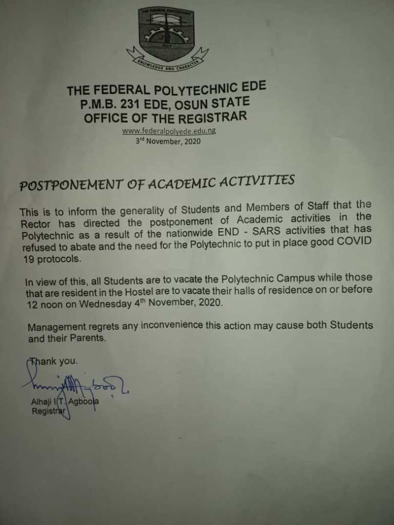 NUCJ Ede Chapter frown at management over the postponement of Academic Activities- document