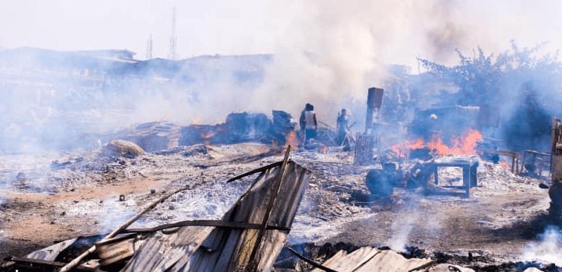 Some areas of Ketu plank market Lagos razed by fire