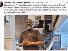 Nigeria's Erstwhile Celebrity Lawmaker, Senator Dino Melaye (SDM) advises Buhari as fresh #EndSars protest looms