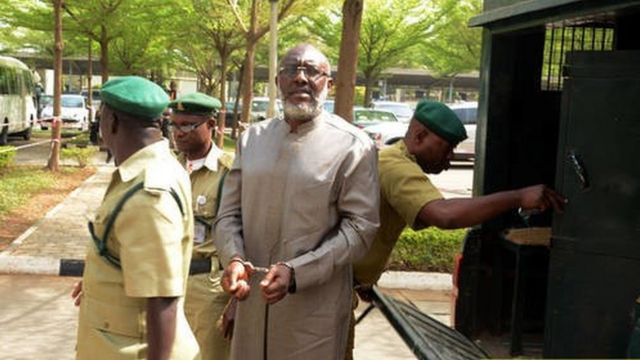 Olisa Metuh in court from prison