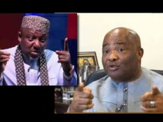 Rochas Okorocha and Governor Hope Uzodinma pointing fingers