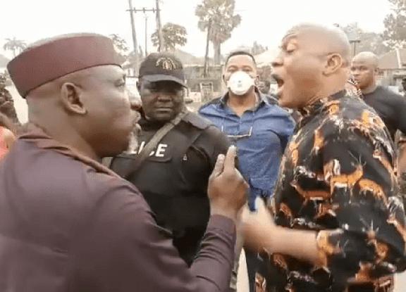 Rochas Okorocha argues during arrest