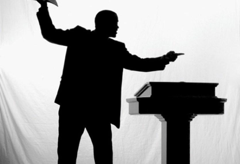 A preacher black and white silhouette