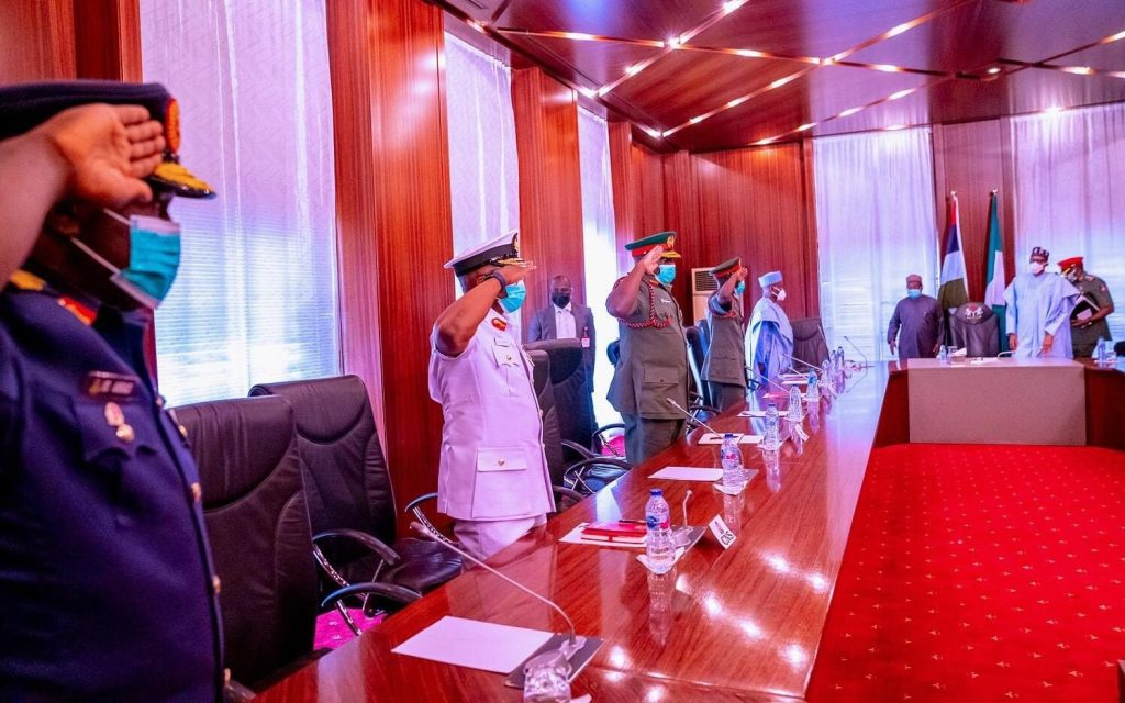 President Buhari Holds Security Meeting With Newly Appointed Service Chiefs - (images)