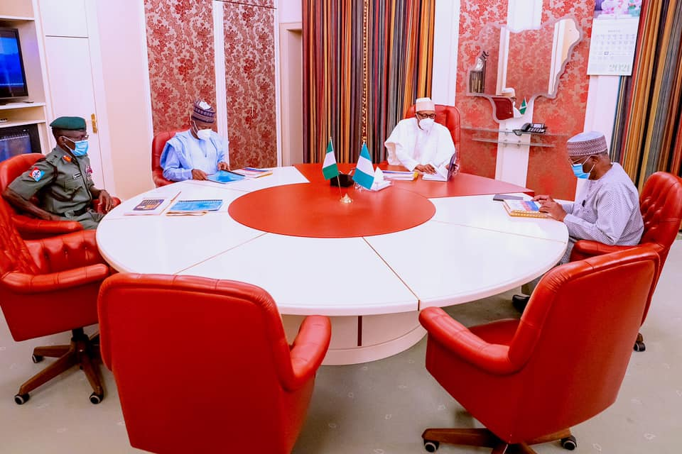 President Buhari in Special Consultation with Minister of Defence and Chief of Defence Staff in State House on 23rd Mar 2021