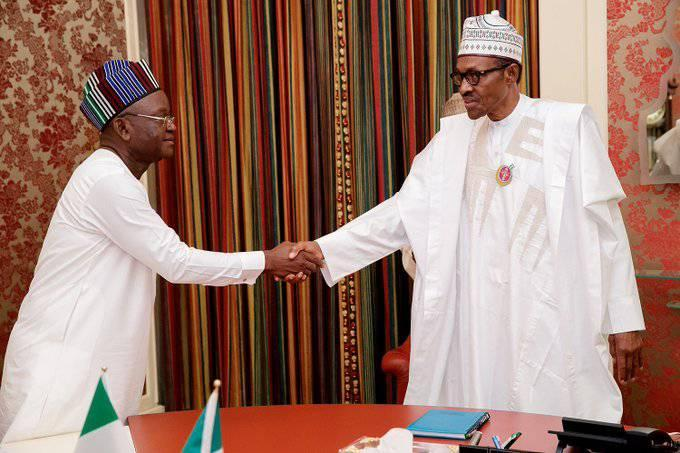 Benue State Governor, Samuel Ioraer Ortom and the Nigerian President, Muhammadu Buhari
