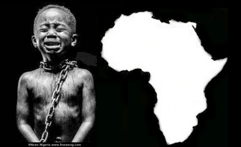 African Child Crying in chains - Future of Africa