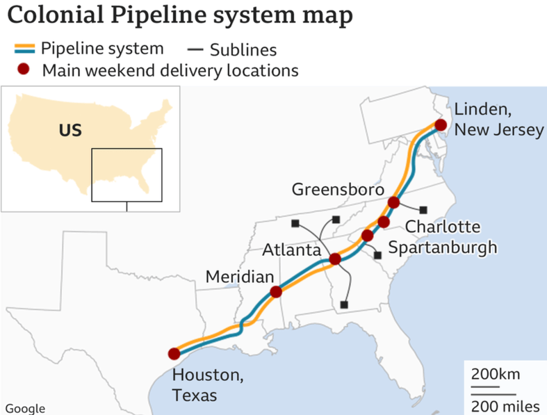 image captionColonial Pipeline says it was hacked on Friday, 7 May