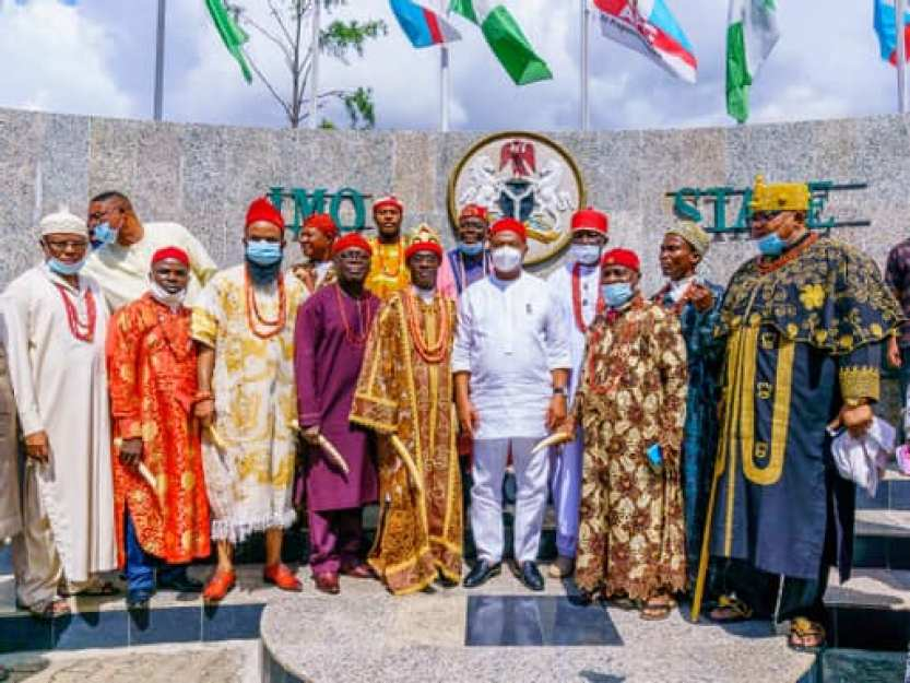 GOVERNOR HOPE UZODIMMA RECEIVES IKEDURU STAKEHOLDERS IN AUDIENCE - TRADITIONAL RULERS