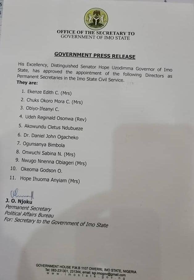 IMO STATE GOVERNMENT APPOINTS NEW PERMANENT SECRETARIES