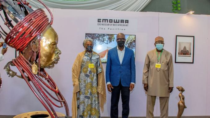 Edo State Governor, Godwin Obaseki During the National Commission for Museums and Monuments (NCMM) 2021 Retreat for management staff and curators held in Benin City, the Edo State capital, I unveiled plans for the Benin City Cultural District, which will house the Edo Museum of West African Art (EMOWAA).