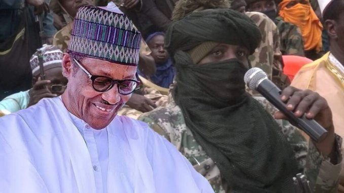 Photoshoped image of Buhari and Bandits - Killings in Nigeria