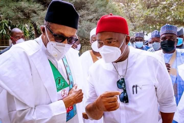 Imo State governor, Hope Uzodinma and the President of Nigeria, Muhammadu Buhari