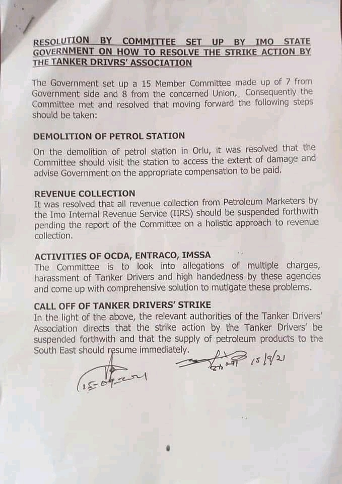 STRIKE OFF AS IMO PETROLEUM TANKER DRIVERS ASSOCIATION RESOLVE (DOCUMENTS BELOW)