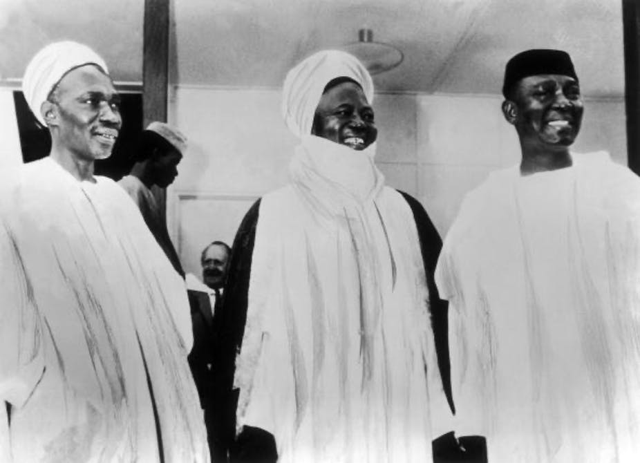 Nigeria's Prime Minister Abubakar Tafawa Balewa, leader of the Northern region, Ahmadu Bello and the Governor General, Nnamdi Azikiwe, at the celebration of Nigeria's independence, on October 1, 1960. Keystone-France/Gamma-Keystone via Getty Images)