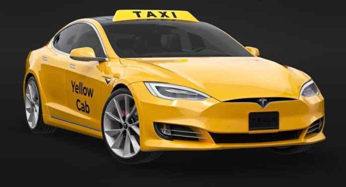 Tesla model yellow cab taxi new york city