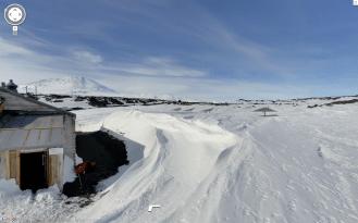 The landscape of polar explorer Robert Falcon Scott's supply hut.