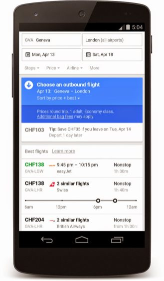 Google Flight Search Switzerland 2