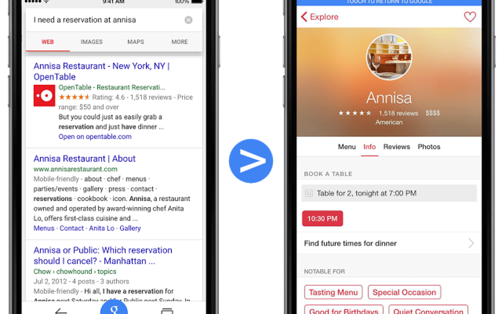 Google Now Indexing Info From IOS Apps In Search ToGoogle - Google open table