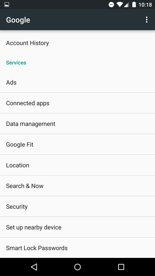 Google Settings menu