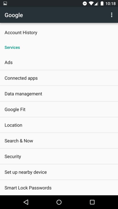 Google Settings menu