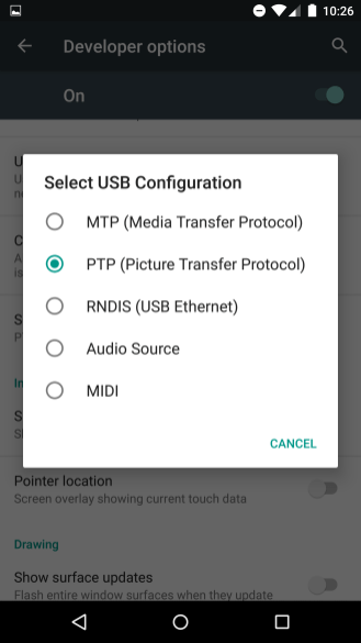 USB configuration menu