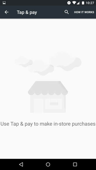 New Tap & pay menu, assumably for Android Pay