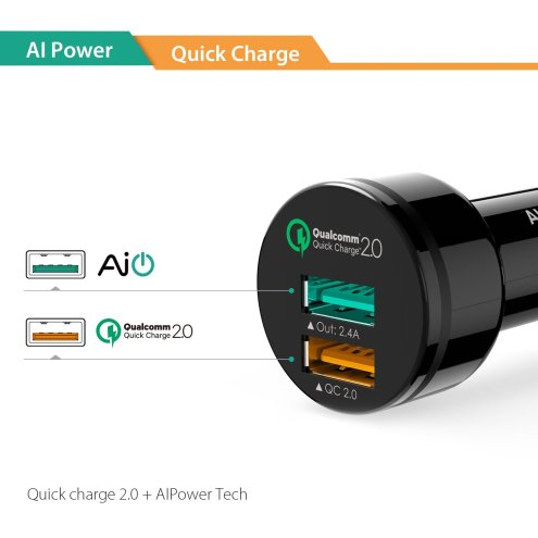 Aukey Quick Charge 2.0 30W 2 Ports-USB Car Charger Adapter