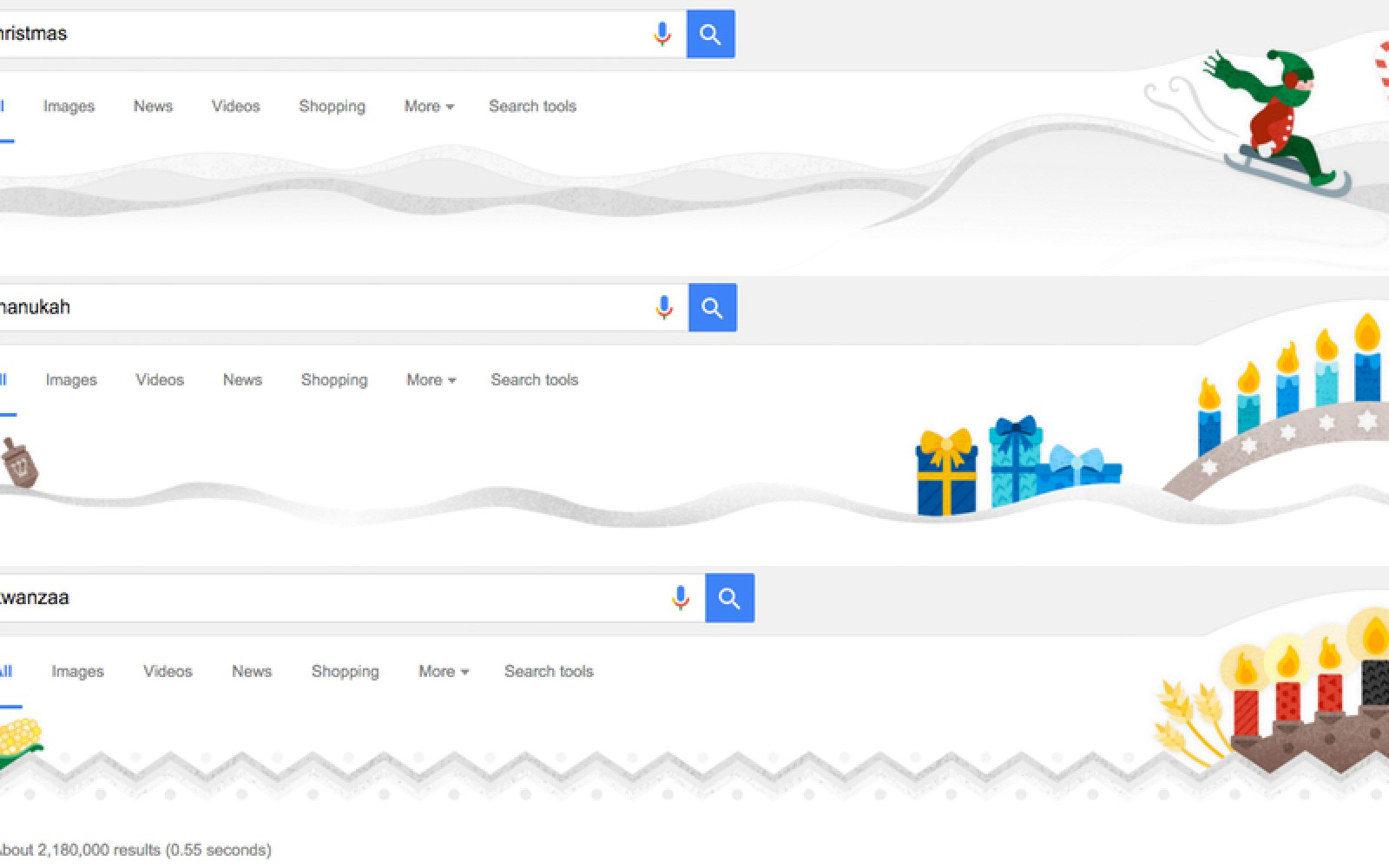 Google Search results get Christmas, Chanukah and Kwanzaa decorations in time for holidays
